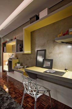 escritório, madeira, cinza, amarelo, cimento queimado, branco