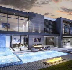 LunasAngel♡ Modern Mansion Interior, Luxury Modern House, Modern Pool House, Modern Pools, Luxury Interior, Modern House Design, Home Interior Design, Luxury Homes Exterior, Contemporary Bar