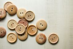 """All natural unfinished wooden buttons, ready for your own finishing, staining or glazing, or leave them as is! Great for all kinds of crafts or for use in knit and crochet work. 1/2"""" are super cute gl"""