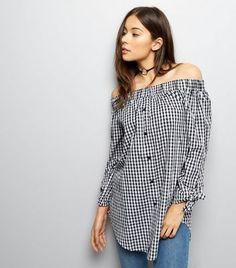 cb37e18645932 Cameo Rose Black Gingham Bardot Neck Longline Shirt. New Look