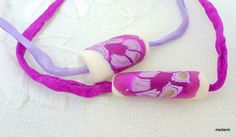 Hand made millefori polymer clay beads on hand painted by meltem, $17.00