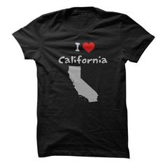 I Love California with Heart and California State Silhouette T-Shirts & Hoodies