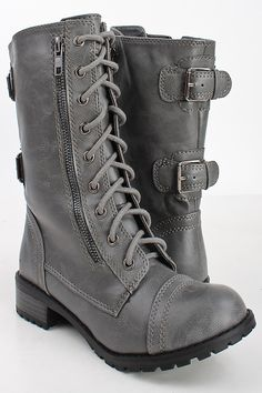 GREY CRINKLE FAUX LEATHER LACED UP COMBAT BOOTS,Women Boots On Sale-Sexy Boots,Womens Sexy Boots,Flat Boots,Heel Boots,Thigh High Boots,High...