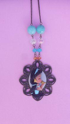 Cameo Jasmin polymer clay necklace fimo by Artmary2 on Etsy, €16.00