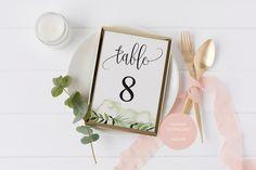 Simple Wedding Table Number, Wedding Table, Printable Numbers, Instant Download, DIY Table Numbers,
