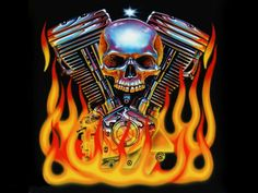 Harley Wallpaper | Wallpapers Skullls Desktop Harley Davidson V Twin Skull Flames 970x728 ...