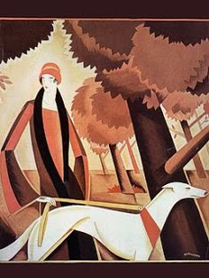 They made walking the dog... elegant! but try walking a greyhound in heels.... not!   Vintage Venus: Art Deco Fashion Prints
