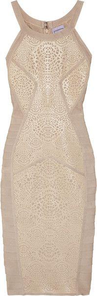 Hervé Léger Lasercut Coated Bandage Dress in Pink (gold)