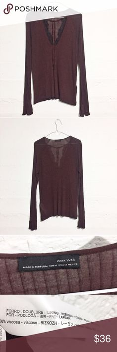 Zara Vneck Top with Lace Detail NWOT Bought to wear after my pregnancy but it has just sat in my closet. 100% viscose. Open to offers. No Trades. Tops