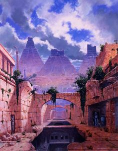 Les Edwards, 'Parlainth' (from the Earthdawn rpg). Fantasy City, Fantasy Places, Fantasy Kunst, Sci Fi Fantasy, Fantasy World, Environment Concept Art, Environment Design, Fantasy Landscape, Landscape Art