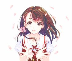 brown hair brown eyes short hair red dress flowers girl anime girl ...