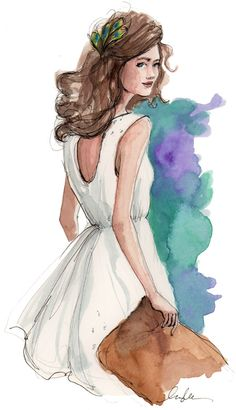 EVENING. Sketch, illustration, fashion.