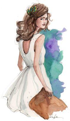 EVENING. Sketch, illustration, fashion.