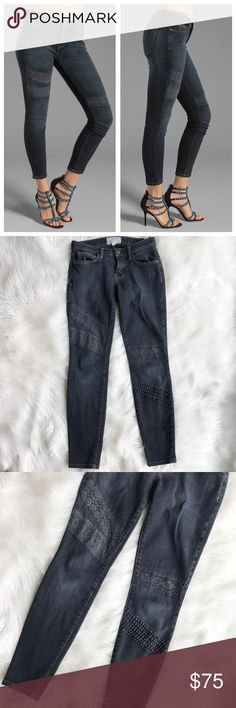 """Current / Elliott Stiletto - Washed Black w/ Lace Current / Elliott Ankle jeans, """"the stiletto"""" style in washed black with lace detail. In excellent used condition. 90% cotton, 6% poly, 4% elastane. Size 23. Waist 14"""", inseam - approximately 28.5"""", intentional Fading throughout. (A) Current/Elliott Jeans Ankle & Cropped"""