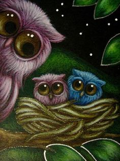 Art: FANTASY PINK OWL WITH BABIES by Artist Cyra R. Cancel