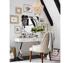 Lady Room (love the desk and frame around the mirror...needs some color pops)