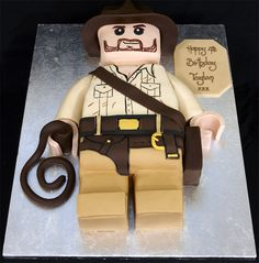 I wish I was talented enough to make this for my soon to be 6 year old who loves Indiana Jones! Indiana Jones Cake, Indiana Jones Birthday Party, Lego Birthday, Birthday Cakes, Birthday Ideas, Birthday Parties, Big Cakes, Fancy Cakes, Cupcake Cookies