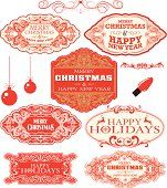 Christmas labels and frames - Art Nouveau