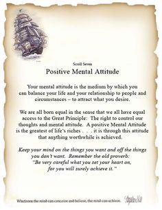 The Secret Power of The Law of Attraction Presented By Mind Power 365: Scroll Seven - Positive Mental Attitude By: Napolean Hill