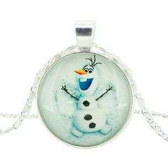 Girls Disney Frozen Characters Olaf Glass Dome Pendant Necklace