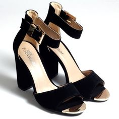 4b519a7166aa KORKYS - perfect for a night out! Black   Gold Heel - DB9 BKS ...
