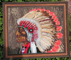 Native American Cheyenne Indian chief Framed Textile Fabric Art Wall Hanging Crewel Needlwork