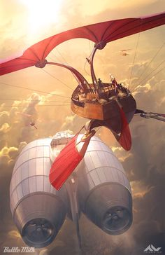 ArtStation - Battlemilk x Sketchpad Gallery Print, Thang Le Steampunk Ship, Arte Steampunk, Sci Fi Fantasy, Fantasy World, Sience Fiction, Dungeons And Dragons Homebrew, Flying Boat, Science Fiction Art, Fantasy Landscape