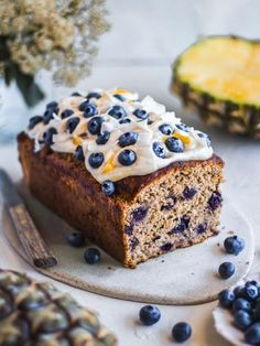 Vegan hummingbird cake loaf studded with blueberries and topped with coconut yoghurt! Nut free, refined sugar free and wholesome enough for breakfast ;).