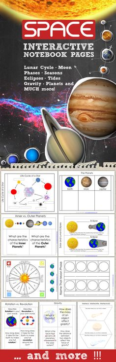 Space Interactive Notebook Pages - Take your student INB's to the next level with these templates for space science. Topics include: Lunar Cycle, Moon Phases, Rotation vs. Revolution, Lunar and Solar Eclipses, Spring and Neap Tides, Inner and Outer Planets, Asteroid, Meteors, Comets, Galaxies, H-R Diagram, the Universe, Star Life Cycle, and MORE. Save tons of time in your classroom and print these out today.