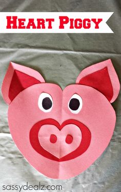 Pig Craft for Kids made out of paper hearts! #DIY #Valentines craft #Piggy | http://www.sassydealz.com/2014/02/heart-pig-craft-kids.html