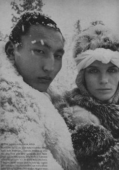 Vogue USA. 16 October 1966 issue. Diana Vreeland's inspired editorial entitled 'The Great Fur Caravan'. Shot on location in the Japanese Alps by Richard Avedon and stars Veruschka and a gorgeous 7' Sumo wrestler they discovered because that's what Diana wanted. Magical. Compelling. What fashion editorial should be... Fur. Snow. Alps.