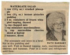 You might know this dish by other names: ambrosia, Pistachio Delight, green stuf. Jello Desserts, Jello Recipes, Dessert Salads, Old Recipes, Vintage Recipes, Dessert Recipes, Cooking Recipes, Vintage Food, Recipies