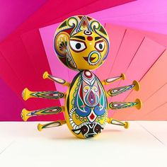 She is spring, summer, fall, and winter. She radiates color. She is beautiful and fierce. She is pure joy. Wishing everyone a wonderful Navaratri season this year! Elephant Crafts, Pure Joy, She Was Beautiful, Wooden Dolls, Bottle Art, Doll Accessories, Cartoon Drawings, Etsy Handmade, Pure Products