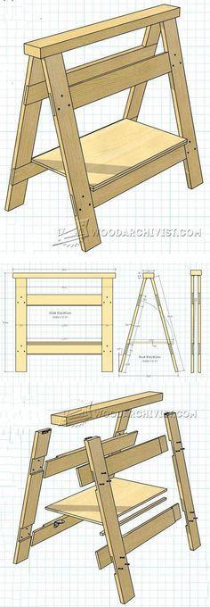 Folding Sawhorse Plan - Workshop Solutions Plans, Tips and Tricks | WoodArchivist.com