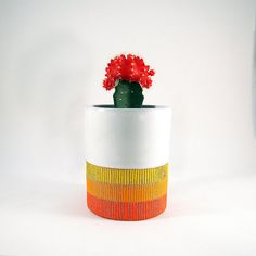 Ceramic Sunrise Tumbler Cup Planter Vase Container by @lovebugkiko via @etsy #ceramics #Scandi #midcentury #modern #handmade #gifts #home #decor #accessories #mcm