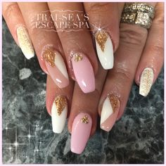 Pink and gold nail art by Trai-Sea's Escape Spa