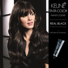 KEUNE TINTA COLOUR: REAL BLACK Supreme conditioning, luminous shine & perfect coverage. Tinta Colour offers the stylist the full range from natural tones to beautiful fashion shades, inspiring endless creativity. Triple layer protection including solamer UV protector shields the hair from UV damage & color fading.