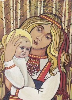 Marjatta the young virgin of Kalevala. She becomes pregnant from eating a lingonberry.