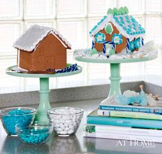 House of Turquoise: Tobi Fairley + Beverly Wells - gingerbread houses on cake stands Blue Christmas Decor, Christmas Themes, Christmas Holidays, Merry Christmas, Holiday Ideas, Christmas Crafts, Turquoise Christmas, Christmas Blessings, Christmas Kitchen