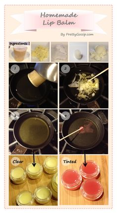 Great recipe for homemade lip balm with ideas about substitutes and proportions of the ingredients
