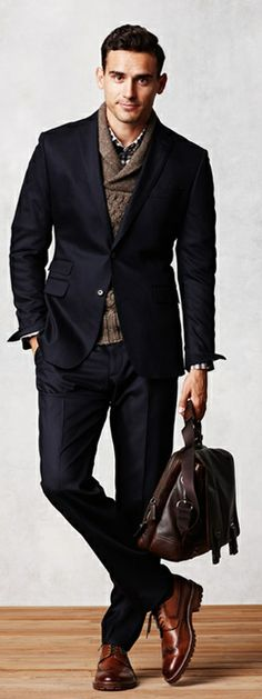 Layers. Navy Suit. Sweater. Messager Bag
