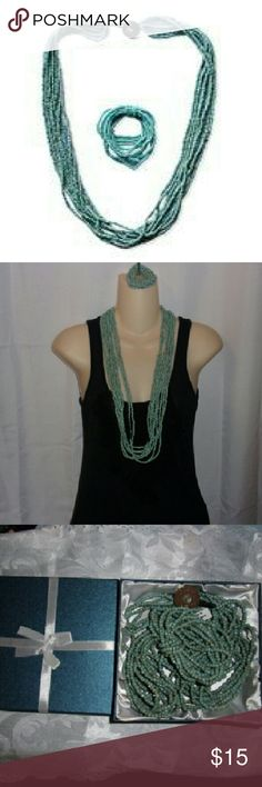 """36"""" Blue green seed bead necklace bracelet set Seed bead multi strand stretchable necklace and bracelet set. Brand new. Comes in gift box. Quite a substantial piece. Est retail value provided at purchase was $59. Seems a little high. Jewelry"""
