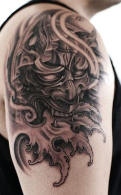 What does hannya mask tattoo mean? We have hannya mask tattoo ideas, designs, symbolism and we explain the meaning behind the tattoo. Oni Tattoo, Hannya Maske Tattoo, Samurai Mask Tattoo, Hanya Tattoo, Dark Tattoo, Asian Tattoos, Leg Tattoos, Sleeve Tattoos, Japanese Tattoo Meanings