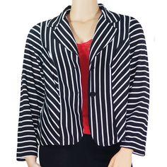 "Spotted while shopping on Poshmark: ""Plus size black and white striped knit blazer""! #poshmark #fashion #shopping #style #Jackets & Blazers"