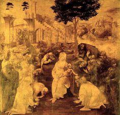 Leonardo, Adorazione dei Magi, 1482, intenti psicologici e realistici di leonardo, accanto a finezze di modellatura per longhi incapacitá di sintesi.