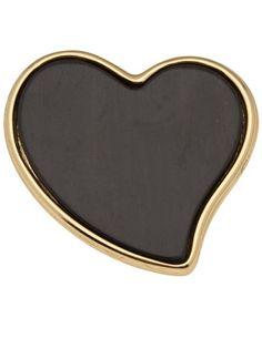 YVES SAINT LAURENT VINTAGE Ebony Heart Brooch   #farfetch