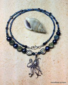Octopus Necklace Sterling Silver Freshwater by KarmaBeadsByKaren