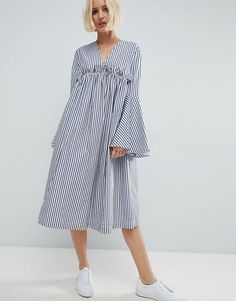 Browse online for the newest ASOS WHITE Ruffle Yoke Bell Sleeve Midi Dress styles. Shop easier with ASOS' multiple payments and return options (Ts&Cs apply). Modest Fashion, Hijab Fashion, Love Fashion, Fashion Dresses, Womens Fashion, Fashion Design, Fashion Fashion, Linen Dresses, Cotton Dresses