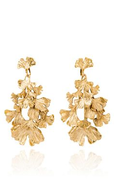 Aurelie Bidermann Gold Plated Ginkgo Feather Articulated Earrings