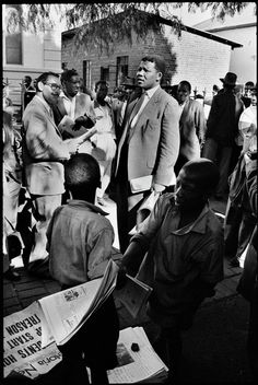 Ian Berry Nelson Mandela, then acting as a defence lawyer, outside the Drill Hall, during the Treason Trial, the first major trial for treason in South Africa. Johannesburg, South Africa. 1961. © Ian Berry | Magnum Photos